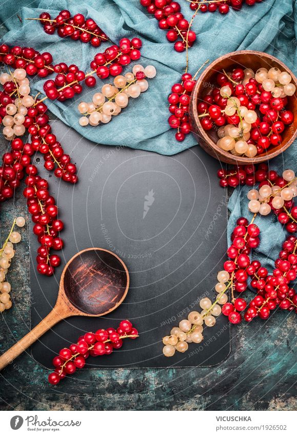 Red and white currants with bowl and wooden spoon Food Fruit Nutrition Organic produce Vegetarian diet Crockery Spoon Style Design Healthy Healthy Eating Life