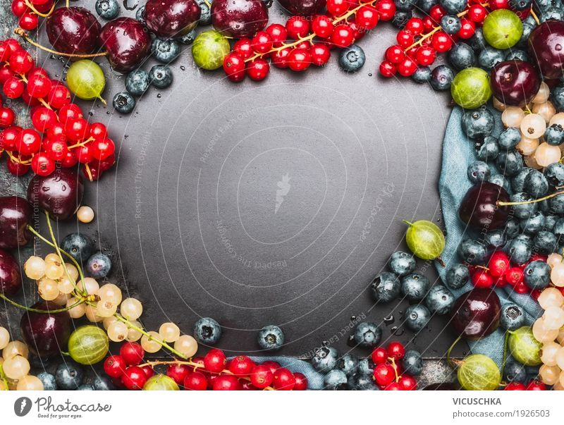 Background with different summer berries Fruit Nutrition Organic produce Vegetarian diet Diet Juice Style Design Healthy Healthy Eating Life Summer Table Nature