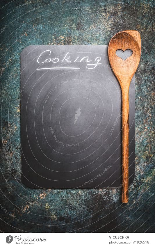 Background picture Style Design Nutrition Empty Heart Sign Symbols and metaphors Blackboard Text Piece of paper Spoon Rustic Wooden spoon