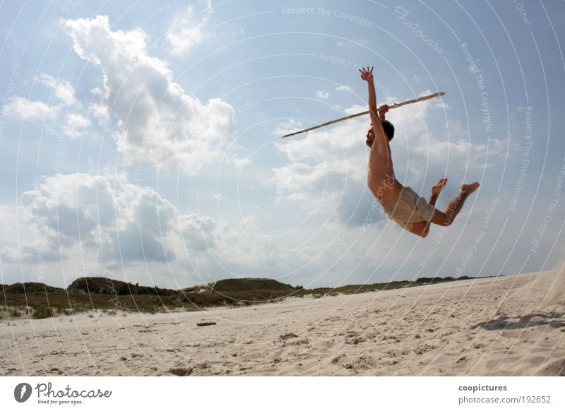 Human being Man Youth (Young adults) Sun Summer Beach Clouds Adults Life Landscape Sports Freedom Movement Sand Jump Power