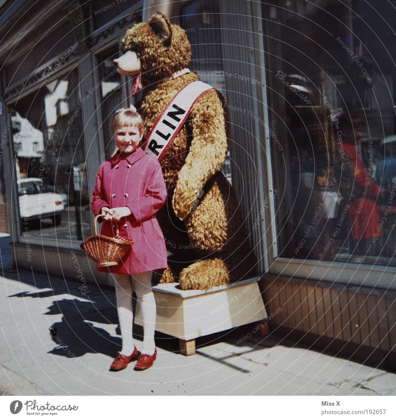 Human being Child Old Vacation & Travel Girl Berlin Infancy Trip Shopping Toys Capital city Coat Nostalgia Bear Window City