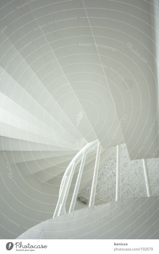 White ascent Architecture Stairs Go up Bright Handrail Banister Lighthouse Window Concrete Round Spiral Winding staircase Silhouette Empty Building