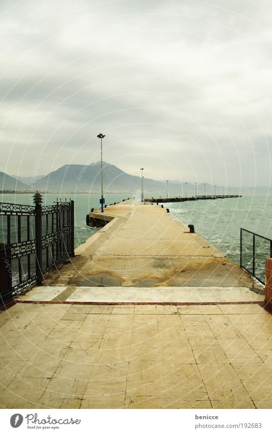 footbridge Footbridge Jetty Corridor Ocean Water Clouds Empty Deserted Loneliness Architecture Turkey Alanya Lanes & trails Harbour Lantern Nature Construction