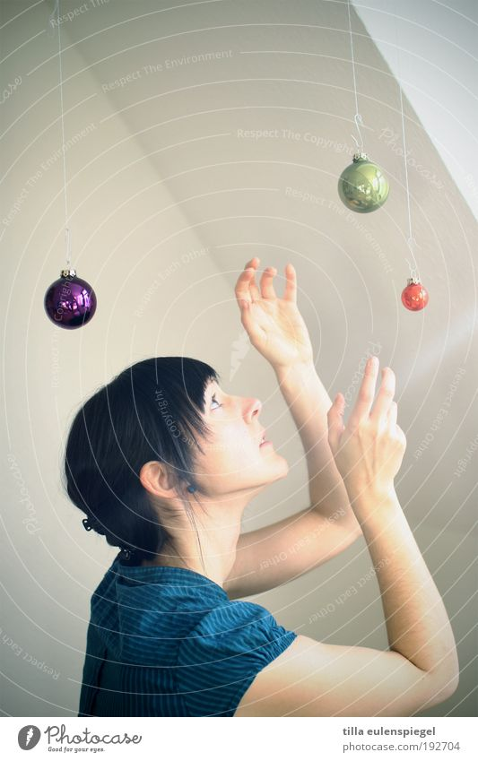 Human being Christmas & Advent Youth (Young adults) Far-off places Feminine Style Movement Room Art Kitsch Decoration Catch Sphere Discover Stage play
