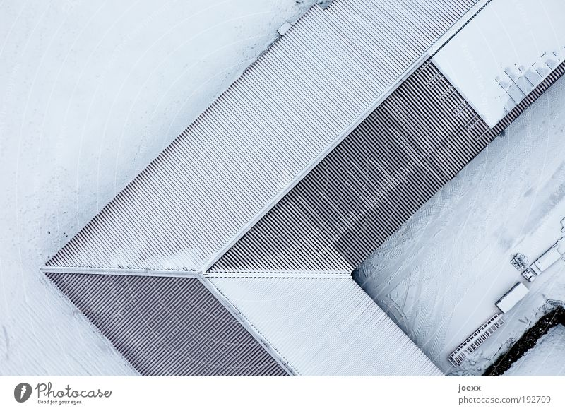 White Blue Winter House (Residential Structure) Snow Above Ice Bright Aerial photograph Corner Frost Roof Under Furrow Barn Sharp-edged