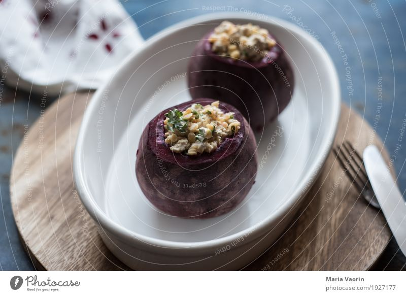Beetroot - stuffed Food Vegetable Nutrition Lunch Dinner Organic produce Vegetarian diet Fragrance Delicious Red beet Tofu Lentils Cutlery Fork Raw Oven dish