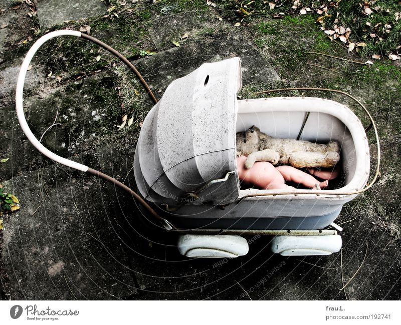 trip Playing Parenting Infancy Life doll car Toys Doll Teddy bear Old Dirty Broken Grief Force Divide Decline Past Transience Colour photo Exterior shot Day