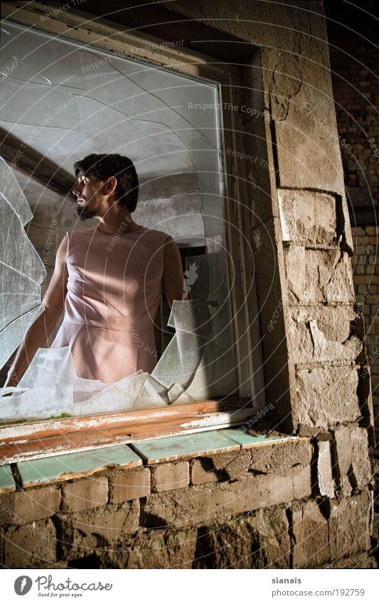 Human being Man Feminine Window Dream Wall (barrier) Fear Adults Masculine Gloomy Broken Change Observe Uniqueness Longing Force