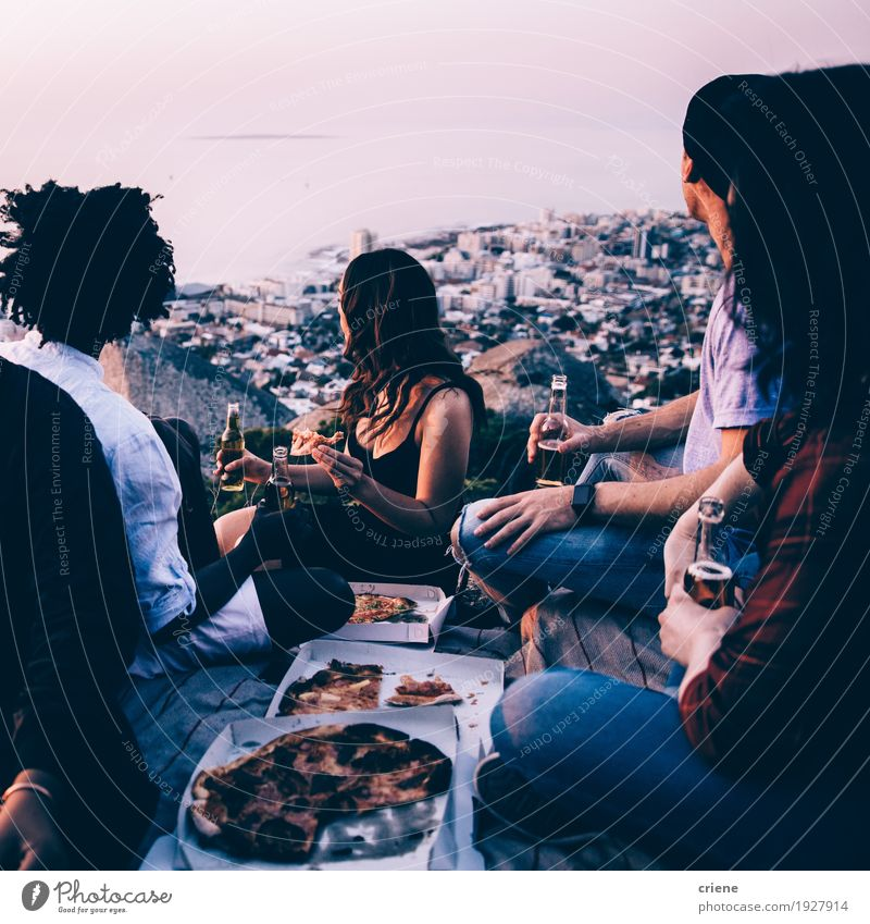 Group of young adult friends having picninc together Food Eating Dinner Picnic Fast food Beverage Drinking Cold drink Alcoholic drinks Beer Lifestyle Joy