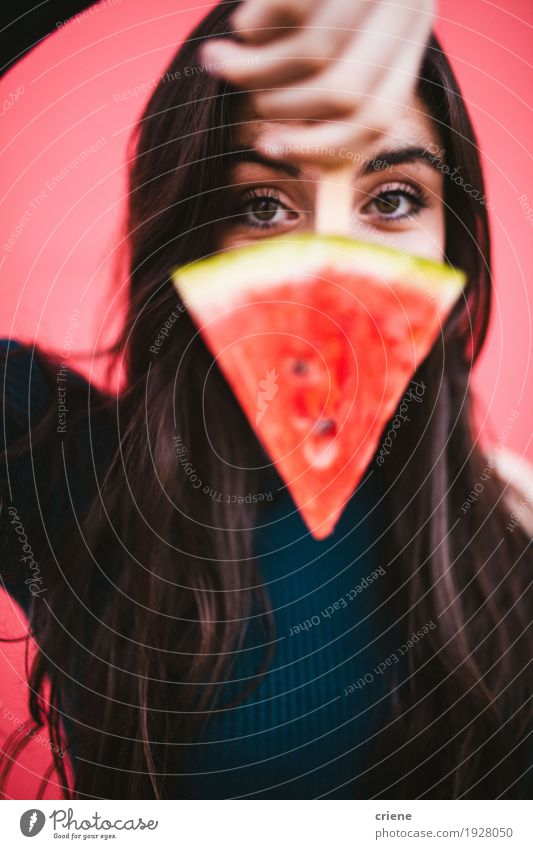 Young female women with slice of watermelon on a popsicle Woman Youth (Young adults) Young woman Red Joy 18 - 30 years Face Adults Eating Lifestyle Funny Healthy Feminine Food Pink Fruit