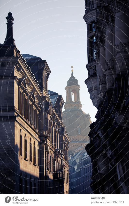 Winter Building Art Tourism Idyll Culture Tower Tourist Attraction Castle Capital city Painting and drawing (object) Alley Dresden Dreamily Work of art