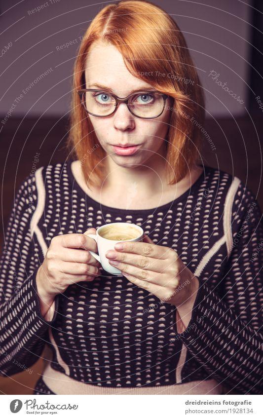 coffee break Drinking Hot drink Coffee Espresso Lifestyle Feminine Woman Adults Eyeglasses Red-haired Cool (slang) Elegant Success Nerdy Positive Optimism