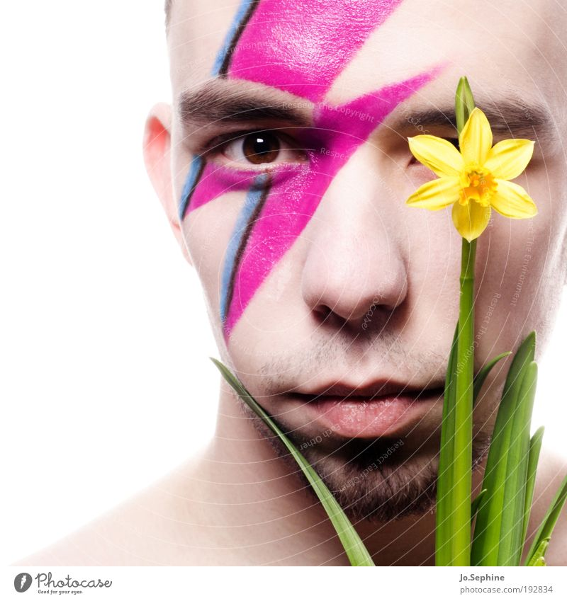 Human being Youth (Young adults) Flower Adults Yellow Eyes Young man Head 18 - 30 years Style Pink Masculine Lifestyle Facial hair Lightning Make-up