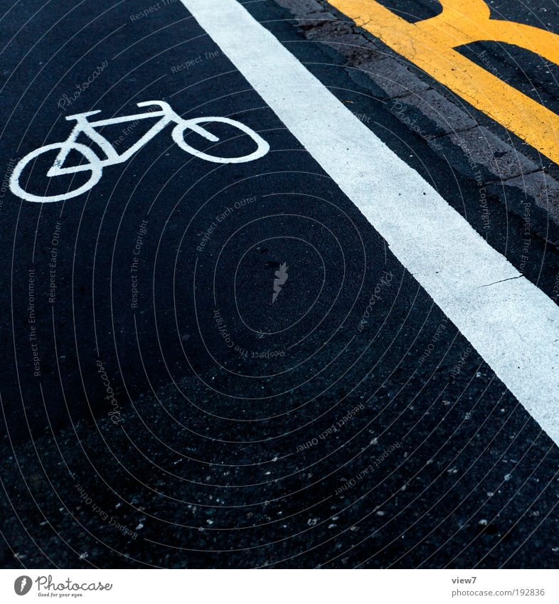Yellow Street Dark Line Bicycle Dirty Road traffic Design Elegant Concrete Signs and labeling Transport Fresh Perspective Modern Arrangement
