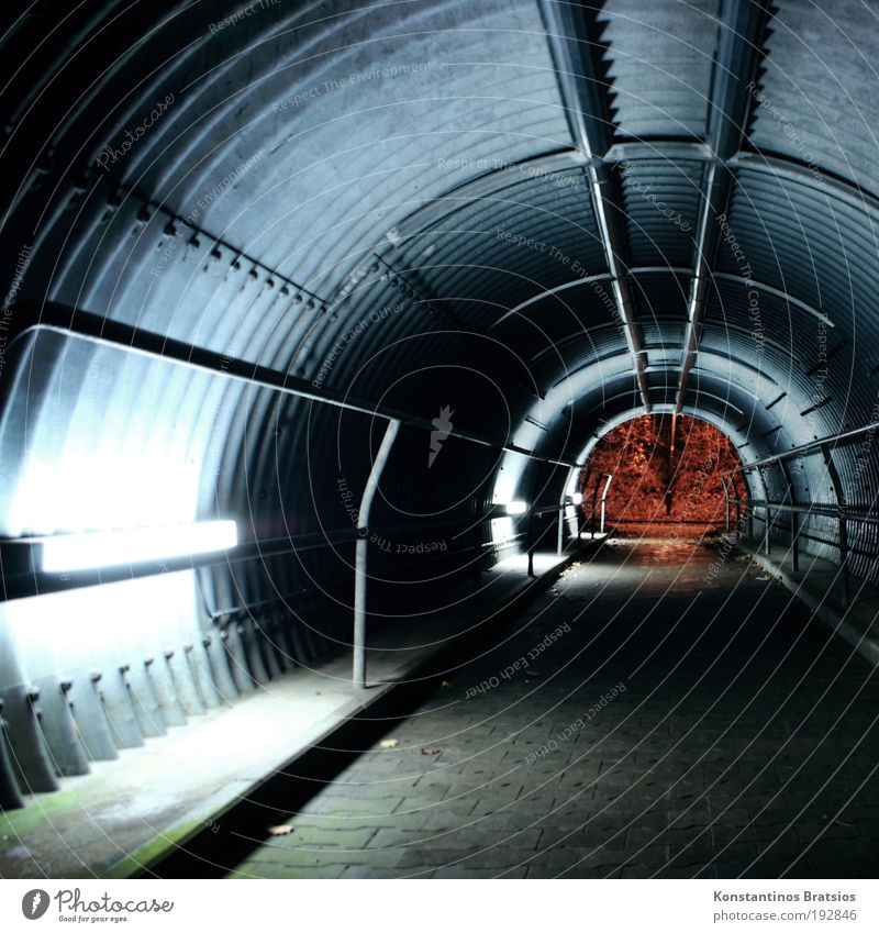 Dark Tunnel Illuminate Manmade structures Traffic infrastructure Handrail Neon light Paving stone Time Lanes & trails Street Long exposure Underpass Cycle path