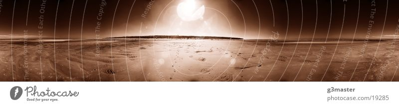 Water Sun Beach Large Panorama (Format) Mud flats North Sea Spiekeroog