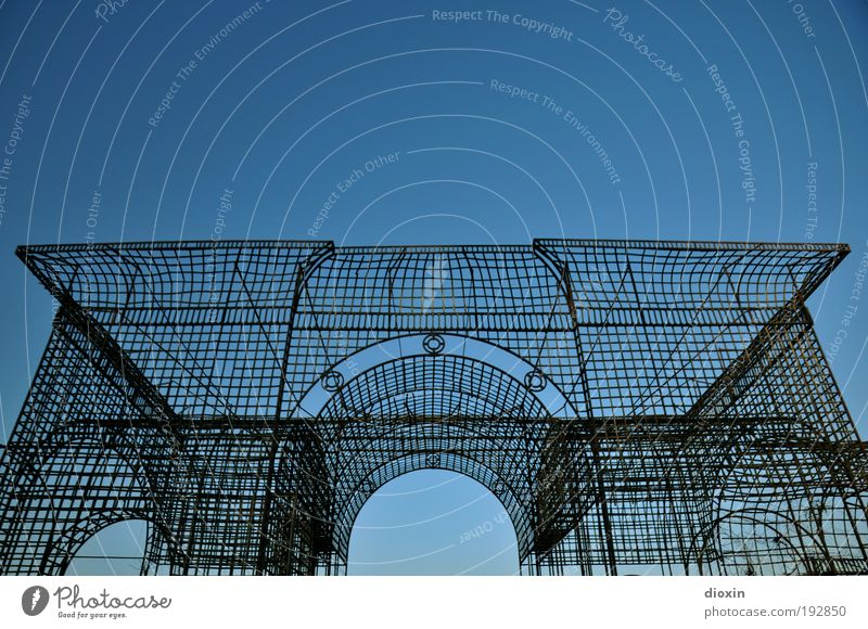 pearly gates Cloudless sky Weather Beautiful weather Bright Historic Scaffolding Archway Colour photo Exterior shot Deserted Copy Space top Day