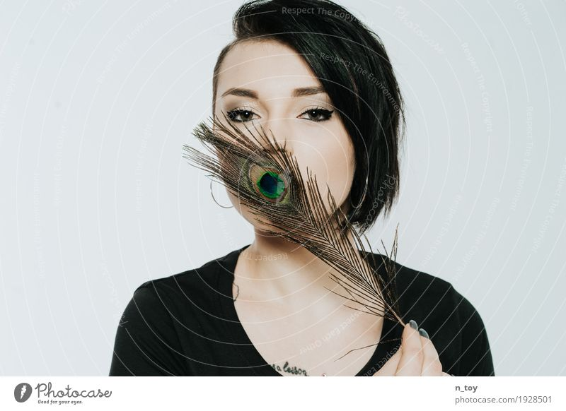 peacock mouth Style Beautiful Feminine Young woman Youth (Young adults) Head 1 Human being 18 - 30 years Adults Blossoming Think Glittering Eroticism Romance