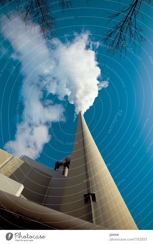 smoke sign Energy industry Coal power station Industry Environment Air Sky Cloudless sky Industrial plant Factory Tower Blue Yellow Environmental pollution