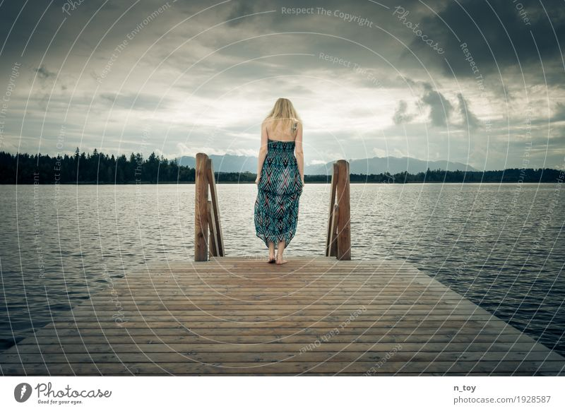 STEPS Feminine Young woman Youth (Young adults) 1 Human being Environment Nature Clouds Storm clouds Forest Alps Lakeside Bog Marsh Dress Blonde Long-haired