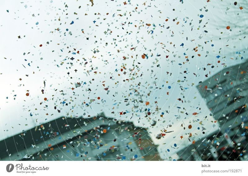 confetti Happy Event Feasts & Celebrations Carnival Air Clouds House (Residential Structure) To fall Happiness Blue Enthusiasm Confetti Throw Multicoloured Sky