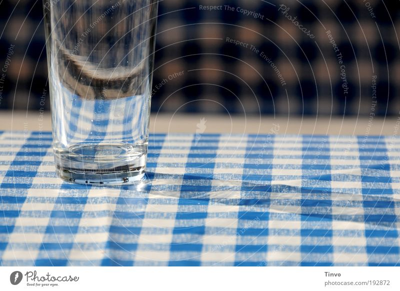 Empty glass on blue and white tablecloth in the beer garden Blue White Glass Beer glass Bavarian Beer garden Summer Thirst Thirsty Services Trip Destination