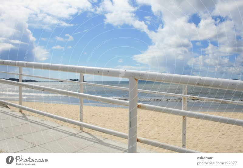 Sky White Ocean Beach Calm Clouds Far-off places Lanes & trails Sand Landscape Coast Horizon Empty Traffic infrastructure Handrail Ease
