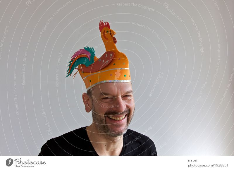 Human being Man Joy Adults Funny Style Laughter Happy Feasts & Celebrations Orange Masculine 45 - 60 years Happiness Uniqueness Smiling Joie de vivre (Vitality)