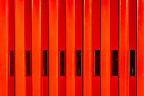 Red Fire Door Parking garage Manmade structures Building Architecture fire station Window Glass Metal Authentic Famousness Simple Firm Hot Modern Curiosity