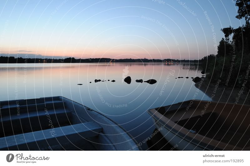 Nature Water Blue Summer Calm Relaxation Stone Lake Landscape Contentment Romance Peace Night sky Longing Lakeside Beautiful weather