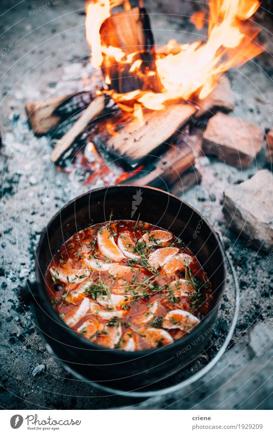 Delicious Cooking stew pot in open fire Food Vegetable Soup Stew Herbs and spices Eating Dinner Pot Vacation & Travel Tourism Trip Adventure Camping