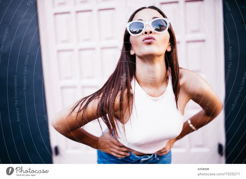 Caucasian female with sunglasses making kiss grimace Human being Woman Youth (Young adults) Young woman Beautiful Joy 18 - 30 years Adults Emotions Lifestyle Feminine Fashion Pink Wild Retro Authentic