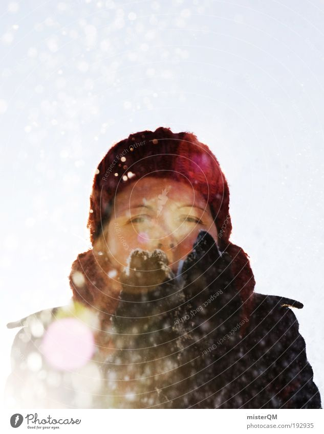 Woman Youth (Young adults) Red Joy Winter Cold Life Feasts & Celebrations Snowfall Beautiful weather Esthetic Desire Seasons Cap Blow Winter sports