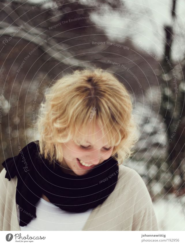 love for granted Joy Contentment Winter Human being Feminine Mouth 18 - 30 years Youth (Young adults) Adults Ice Frost Snow Shirt Scarf Blonde Curl Relaxation