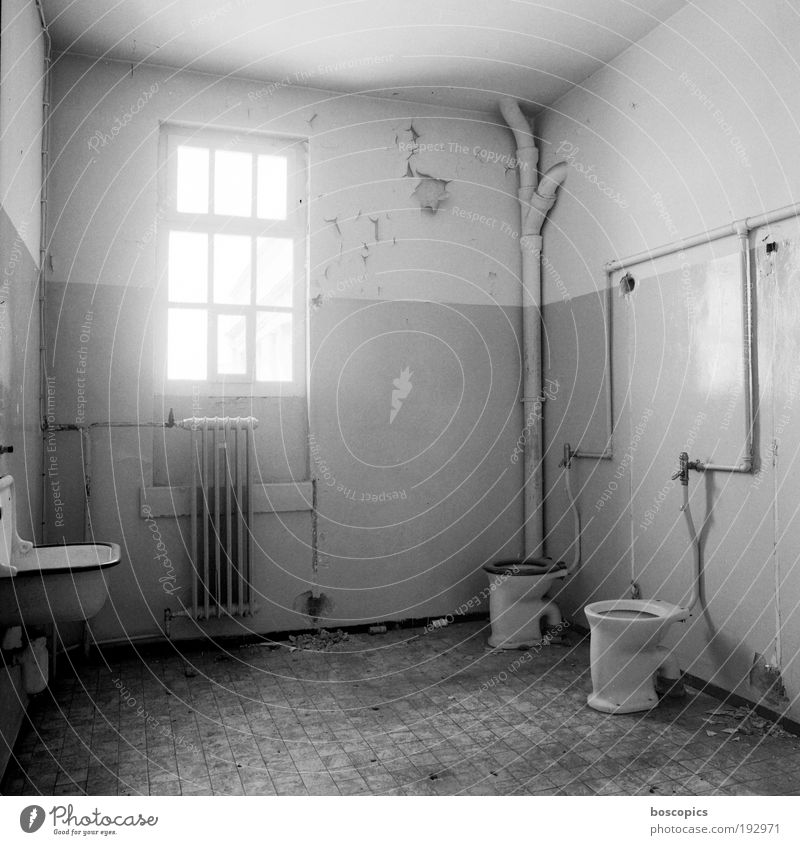 double cell Deserted Factory Bathroom window Stone Glass Metal Loneliness Bizarre Whimsical Decline Transience Insolvency Black & white photo Interior shot Day