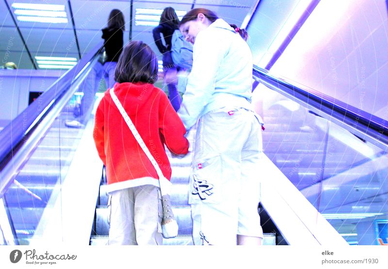talk Escalator Child Youth (Young adults) Human being