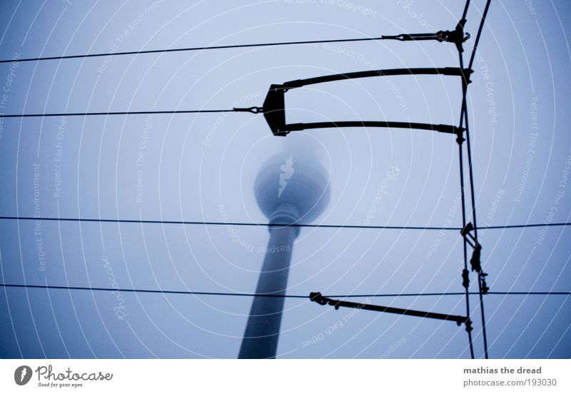 Sky Clouds Dark Cold Architecture Autumn Berlin Building Line Rain Fog Gloomy Cable Manmade structures Skyline Landmark