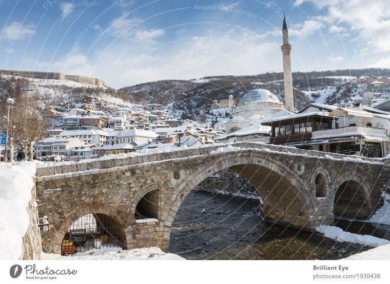 winter cityscape Vacation & Travel Winter Snow Prizren Kosovo Europe Town Downtown House (Residential Structure) Bridge Old Esthetic Tourism Tradition Islam