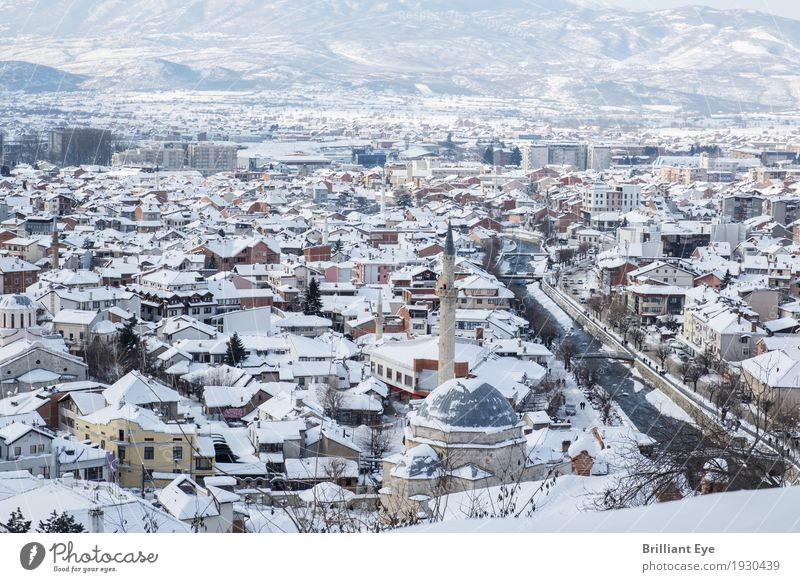 old town in winter Vacation & Travel Tourism Winter Snow Prizren Kosovo Europe Town Old town House (Residential Structure) City Balkans Tall Above Mosque River