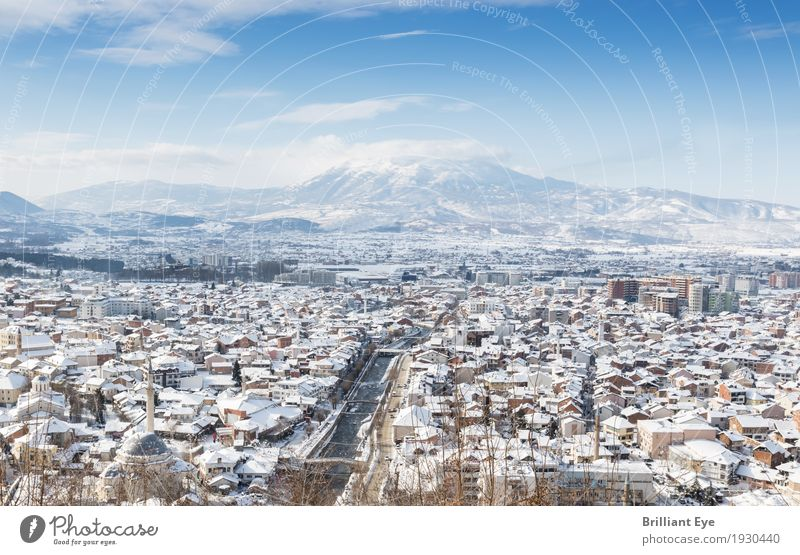 Winter Panorama City of Prizren, Kosovo Vacation & Travel Snow Landscape Beautiful weather Europe Town Old town Landmark Authentic Bright Tourism Tradition