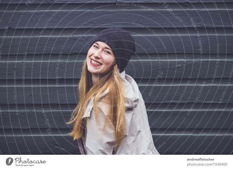 Young woman is happy Feminine Youth (Young adults) Life 1 Human being 18 - 30 years Adults Jacket Coat Cap Blonde Long-haired Movement Rotate Laughter Love