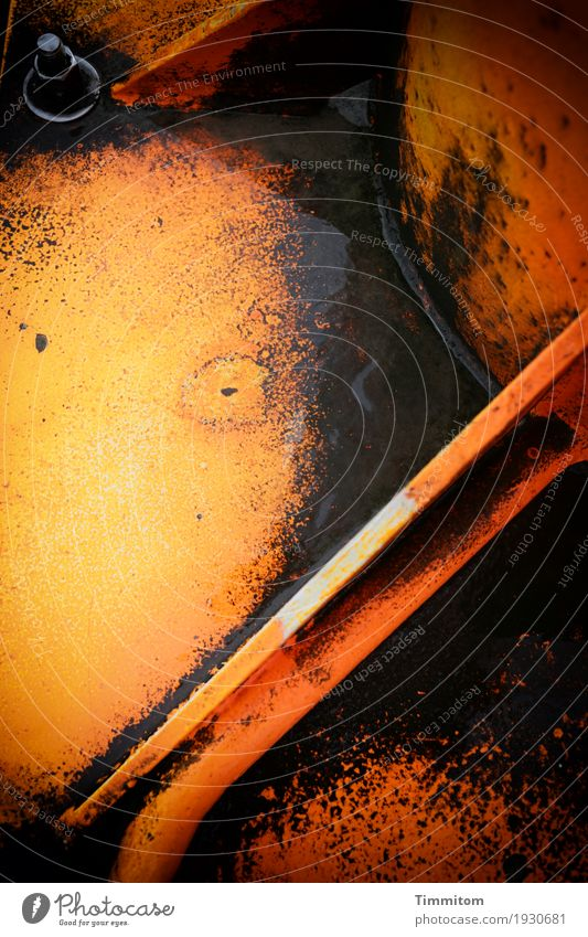 Heavy Metal (2/2). Denmark Steel Esthetic Dark Orange Black Welding seam Corner Line Dye Hard Sharp-edged pier light Colour photo Exterior shot Close-up
