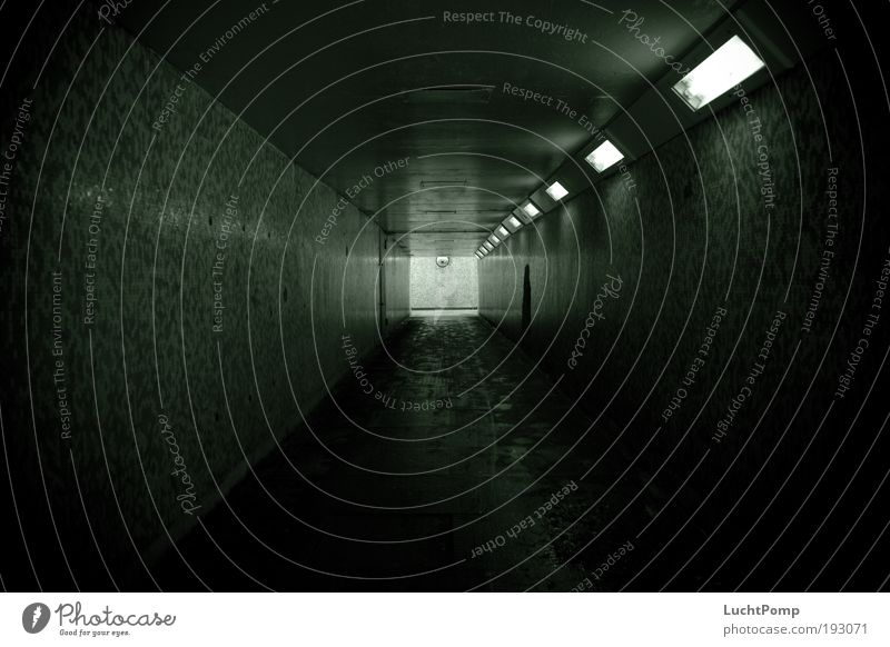 Green Black Loneliness Dark Cold Fear Hope Safety Dangerous Tile Force Square Tunnel Illuminate Footprint Escape
