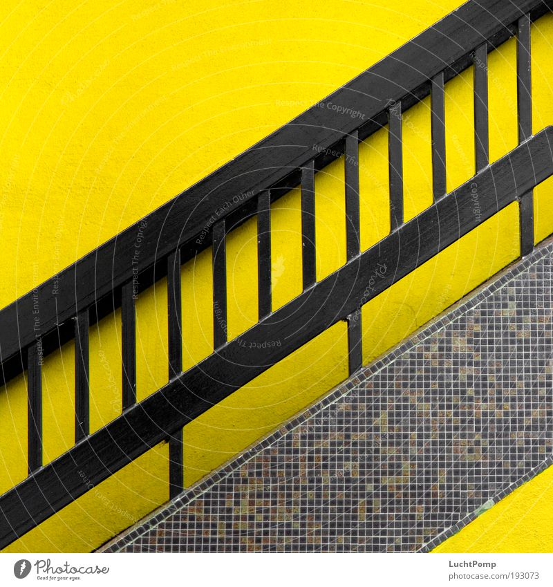Black Yellow Success Hope Stairs Esthetic Future Stripe Tile Abstract Illustration Upward Banister Go up Striped Symbols and metaphors