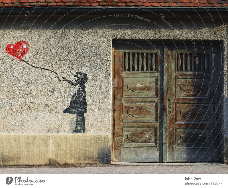 Child City Red Love Graffiti Wall (building) Wall (barrier) Art Door Facade Heart Wind Street art Crazy Childhood memory Balloon