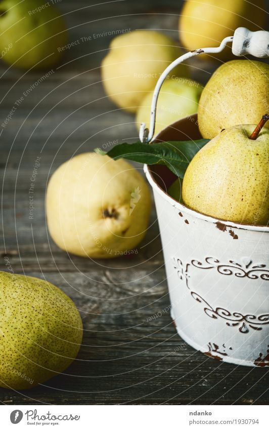 Ripe yellow pears in an iron bucket Nature Old Summer Colour Green Yellow Autumn Natural Wood Food Gray Fruit Nutrition Fresh Retro Table
