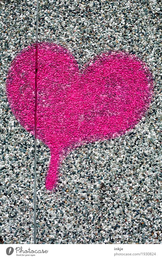 Heart on stone Lifestyle Deserted Wall (barrier) Wall (building) Facade Stone Sign Graffiti Pink Red Emotions Spring fever Love Infatuation Romance Colour photo