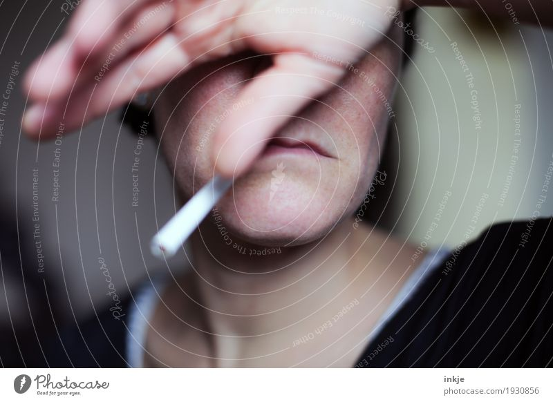 Resignation | Addiction Woman Adults Life Face Mouth Hand 1 Human being 30 - 45 years 45 - 60 years Cigarette Smoking Gloomy Emotions Moody Sadness Pain Shame