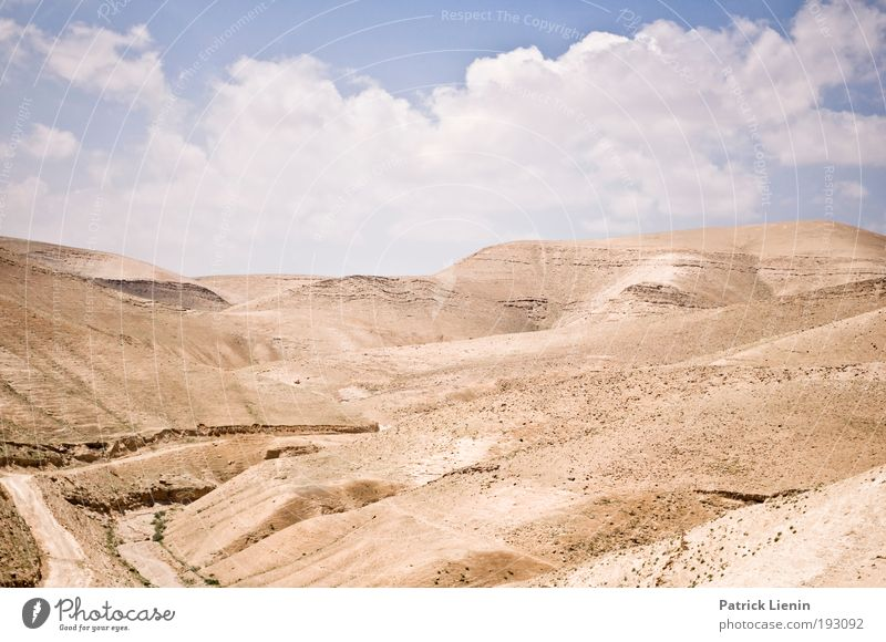 hot and dry Far-off places Summer Sun Environment Nature Landscape Earth Sand Sky Climate Climate change Weather Warmth Drought Hill Rock Desert Negev West Bank