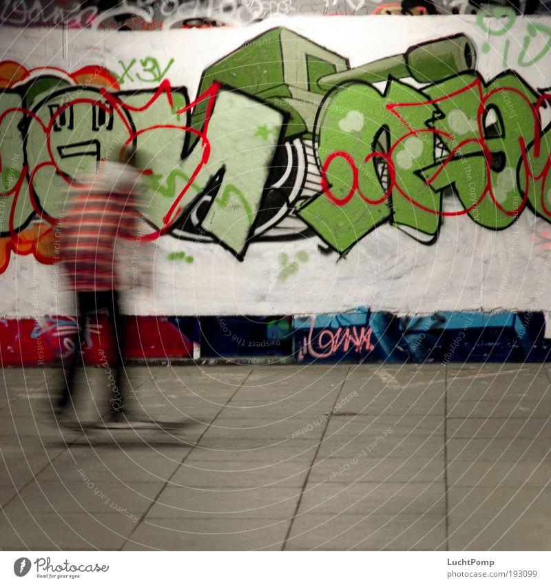 Green Joy Movement Graffiti Speed Driving Characters Uniqueness Joie de vivre (Vitality) Skateboarding Skateboard Motion blur Art Freestyle Paving stone